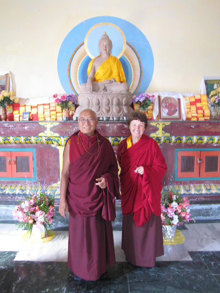 Ven. Khenpo Tsewang Rinpoche with Lama Lorraine inside the Stupa