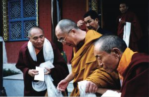 The Venerable Khenpo Rinpoches with H.H. the Dalai Lama at the PBC Monastery in Saranath, India.