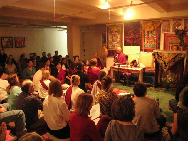 Khenpo Tsewang Rinpoche with Sangha during Vajrakilaya Practice NYC January 1 2012