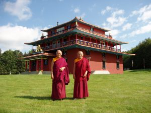 Ven. Khenpo Rinpoches in front of PSL Gompa