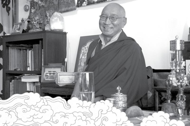 Ven. Khenpo Tsewang Dongyal being interviewed